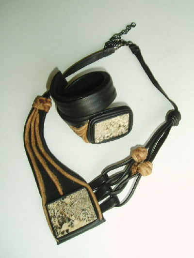 Leather and Pegmatite Necklaces and Bracelets