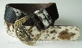 Black,Brown and White  Hair Cowhide Belt with Vintage Buckle
