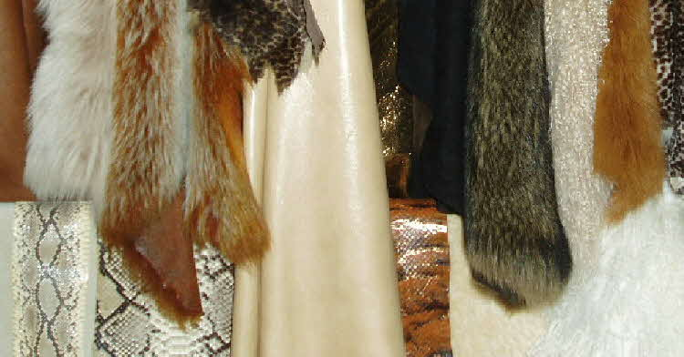 Luxurious selection of toscana and mongolian lamb sheepskin, suede, python snakeskin and leather supplies.