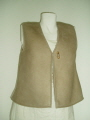 Beige Suede Finish Gilet with Toggle