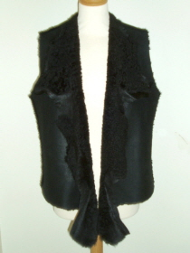 Black Gilet with Short Curly Wool