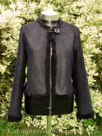 Black Reversible Shearling Jacket with Curly Wool