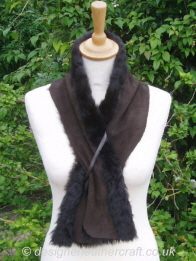 Suede Side of the 43 inch Brown Shearling Scarf