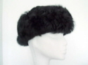 Black sueded sheepskin hat toscana band