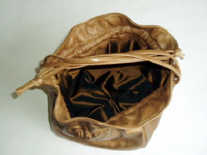 Bronze Brown Leather Bag Open