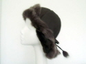 Brown sueded sheepskin hat toscana brisa trim