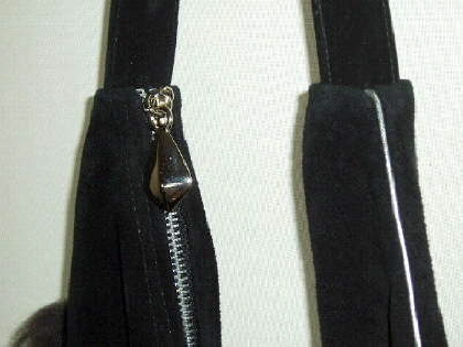 Close up of Silver Colour Zip in Bag