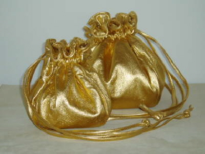 Two Sizes of Gold Leather Dolly Bags