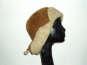 Tan cream tieback sheepskin hat