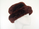 Wine sheepskin hat with small brim