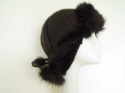 Black nappalan sheepskin hat with toscana trim